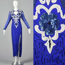 XS 1980s Blue Silk Beaded Dress Floral Sequin Motif VTG Blue Beads Keyhole Front