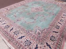 Old Shabby Chic Traditional Hand Made Turkish Green Wool Large Carpet 460x363