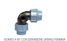 Gomito a compressione con derivazione femmina per irrigatore pop-up da 25x25x1/2