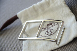 HERMES 32MM Belt Buckle SILVER OFFICIER H with Pouch