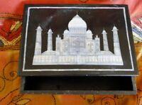 Taj Mahal Boîte marbre Pietra Dura Pierres semi précieuses Bijoux Inde Noir N1