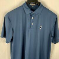Peter Millar Summer Comfort Mens Sz L Blue Golf SS Polo Shirt