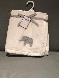 Carter's Elephant Blanket Baby Ivory Gray Fleece Satin Infant Unisex NWT Cozy