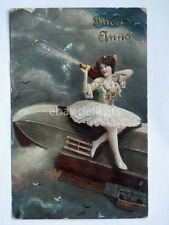 BUON ANNO dirigibile dancer ZEPPELIN vecchia cartolina old postcard AK 2