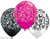 "Damask Balloons Pink White Black Print Qualatex Helium Air Wedding Party 11"""