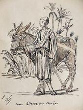 1869 Dessin encre ORIENTALISTE EGYPTE signé E.L. ORIENTALISME CAIRE EGYPT anier