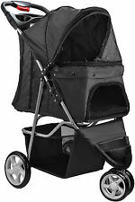 OxGord Pet Stroller Cat Dog 3 Wheel Walk Jogger Travel Folding Carrier Black