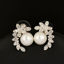 2017 Luxury Rhinestone Pearl Stud Earrings For Bridal Wedding White/Yellow Gold
