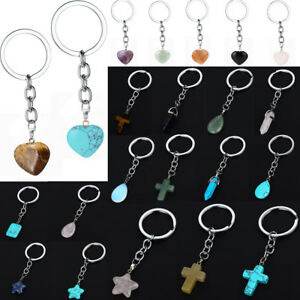 Delicate Natural Stone Keyring Love Heart Ball Star Cross Bullet Charms Keychain