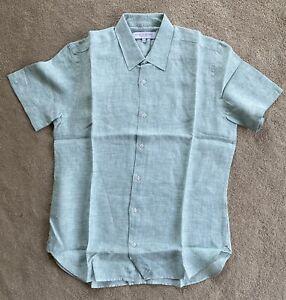 Orlebar Brown Linen Shirt Morton Classic S/S Lightweight Seafoam Shirt Sz M New