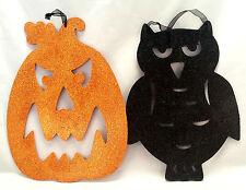 "Halloween Decorations Window Wall Hanging Wood Glittery Set of 2 Pumpkin Owl 13"""