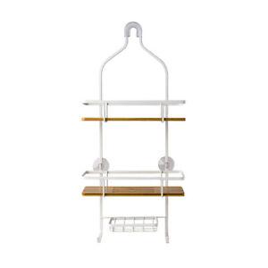 Sabichi 2 Tier White Bamboo Wall Mount Bathroom Shower Caddy Tidy Storage Rack