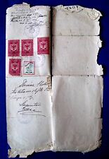 VINTAGE PAPER  DECISION 1947  ALBANIA WITH 5 TAX STAMP & RED CROSS STAMP
