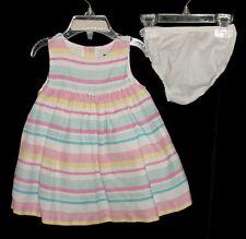 Euc Janie & Jack Girls Lemon Park Pink Blue & Yellow Striped Dress 6-12 M Vhtf