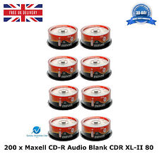 200 Pack Maxell CD-R CDR XL-II Audio Music 80 MINS Recordable Blank Discs CD's