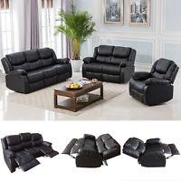 Black Motion Sofa Loveseat Recliner Living Room Bonded Leather Furniture