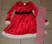 NEW NWT Girls Large 6X Miss Claus Red Christmas Dress & Leggings 2 Pc Set Outfit