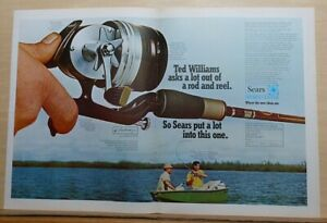 1969 double page magazine ad for Sears - Baseball star Ted Williams goes fishing