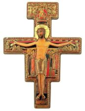 San Damiano Cross Gold Stamped Icon Statuette Magnet with Metal Stand, 3 Inch