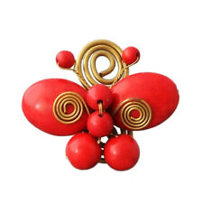 Gorgeous Red Coral & Brass Butterfly Statement Ring