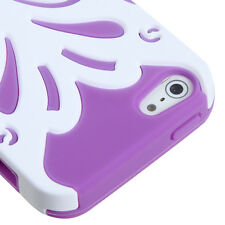iPhone SE 5S HARD & SOFT RUBBER DUAL HYBRID FUSION CASE WHITE PURPLE BUTTERFLY