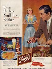 1953 Schlitz Beer  Couple Making Dinner theme cute art deco PRINT AD