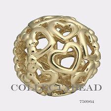 Authentic Pandora 14kt Gold Openworks Hearts Bead 750964