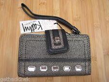 NEW Kathy Van Zeeland Phone Case Cover Wristlet Wallet Bag Handbag Black Gold