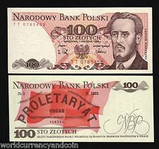 POLAND 100 ZLOTYCH P143 1986-1988 NEWSPAPER UNC CURRENCY BUNDLE 1,000 BILL NOTE