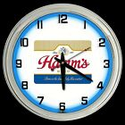 "16"" Hamm's Beer Sign Blue Neon Clock Man Cave Garage Bar"