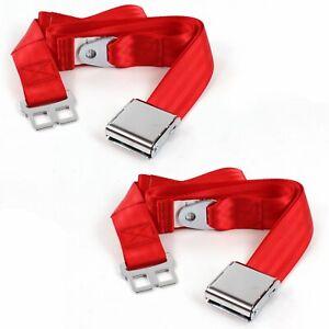 Chevy Corvette 1953 - 1962 Airplane 2pt Red Lap Bucket Seat Belt Kit - 2
