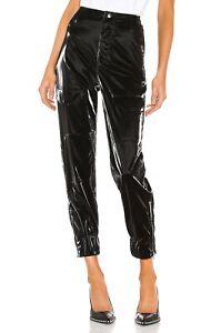 RtA NWT $325 Black 'Harlan' Pilot Faux Patent Leather Pants in Flux Sz S