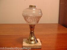 Antique Victorian Brass & Glass Whale Oil Lamp C1850-70
