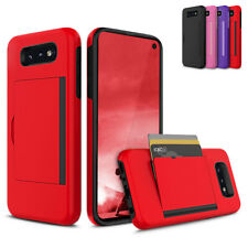 For Samsung Galaxy S10e Hard Soft Dual Layer Card Holder Pocket Case Cover
