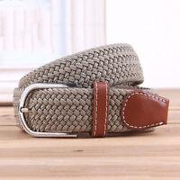 Men's Stretch Braided Elastic Woven Canvas Buckle Belt Waistband Waist Straps