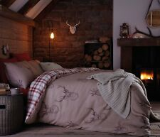 Catherine Lansfield Red Tartan Stag Reversible Double Duvet Quilt Cover Set