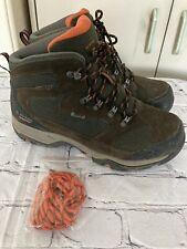 Mens Hi-Tec Hiking Boots Mid UK Size 7 Waterproof Brown Orange Excellent