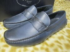PRADA MILANO MENS LEATHER DENIM BLUE LOAFER DRIVER SHOES 7 /US 8 D NEW NIB $530