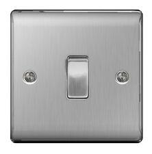 Masterplug Nbs13 10 a 1 Gang Metal Brushed Steel Light Switch Intermediate