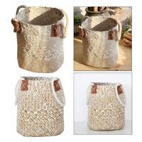 2x Grass Woven Flower Planter Beach Rattan Folding Basket Shopping Basket