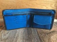 Mens Wallet Black/Blue Genuine Supreme Leather Bifold Handmade Card Holder Purse