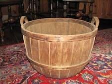 "Antique Huge 19"" New England Wooden Oak Splint Apple Fruit Gathering Basket"