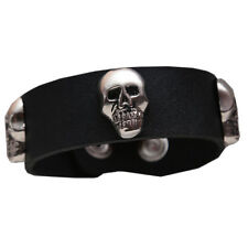 Skull Studded Leather Wrist Band