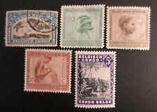 Belgium Congo 1910-38 Stamps Sc #49 Uh & 89, 90, 93 Mhng & 166 Mh