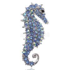 Crystal Rhinestone Sea Horse Brooch Pin Jewelry Wedding Bridal Jewelry Blue