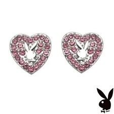 Playboy Earrings Stud Silver Plated Heart Pink Swarovski Crystal GRADUATION GIFT