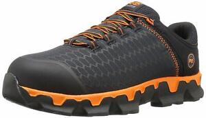 Timberland Mens Pro Steel toe Lace Up Safety, Black Synthetic/Orange, Size 13.0