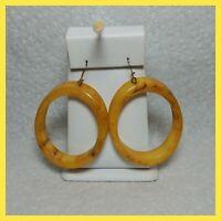 Vintage Bakelite Marbled Hoop Dangle Pierced Earrings