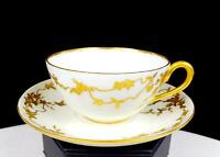 "D & CO DELINIERES LIMOGES FRANCE GOLD FLORAL 1 5/8"" DEMITASSE CUP & SAUCER 1894-"