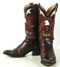 Texas Vintage Inlay Cowboy Western Boots Multicolor Eagles US Made Men's 10 D